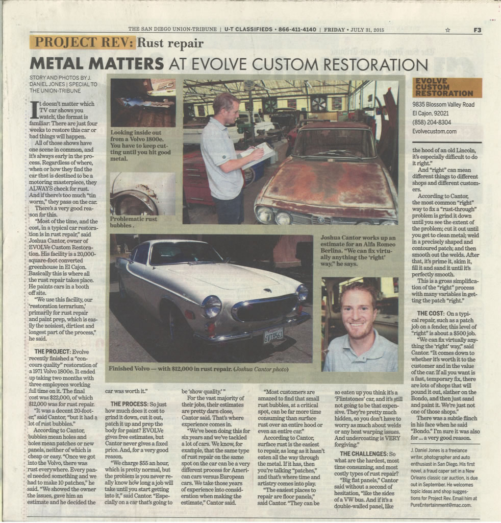 San Diego Tribune story featuring Evolve Custom Restoration