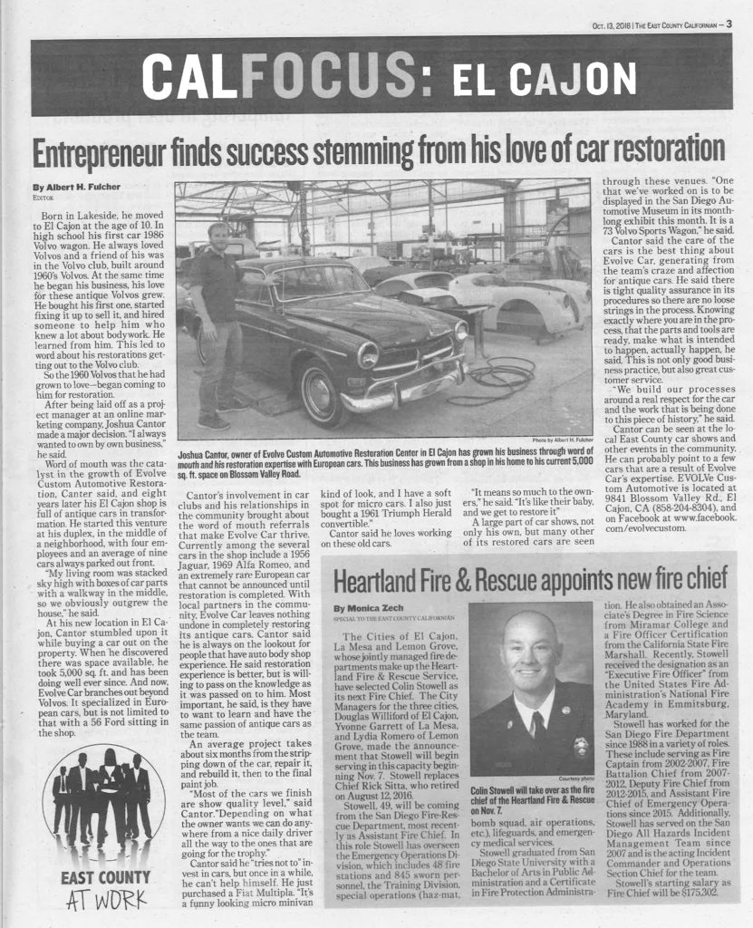 The East County Californian car restoration story